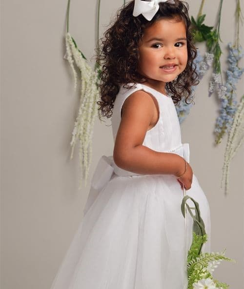 White Dress With Pin-Tucked Bodice, Bow Sash & Tulle Skirt